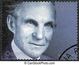 AUSTRIA - 2003: shows portrait of Henry Ford 1863-1947, Ford...