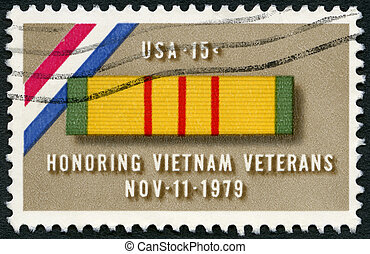 USA - 1979: shows Ribbon for Viet Nam Service Medal, a tribute t