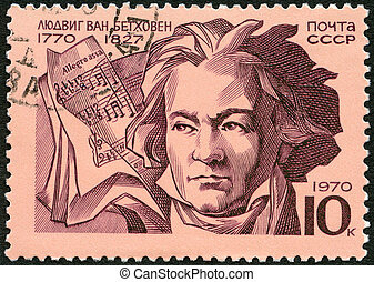 USSR - 1970: shows Ludwig van Beethoven (1770-1827), composer