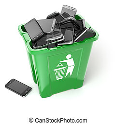 Mobile phones in trash can isolated on white background....