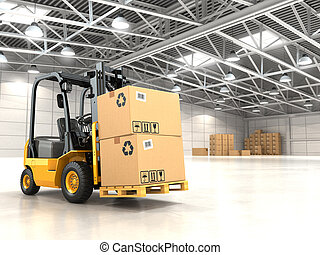 Forklift truck in warehouse or storage loading cardboard...