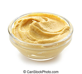 bowl of mustard on a white background
