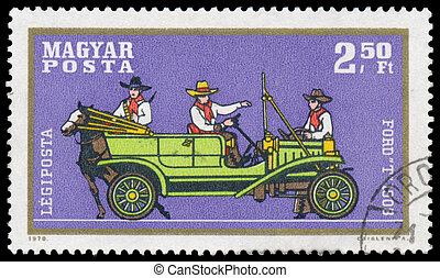 Stamp printed by Hungary shows automobile Ford
