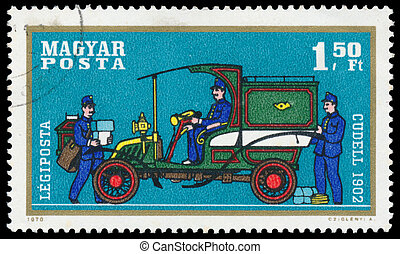 Stamp printed by Hungary shows automobile Cudell
