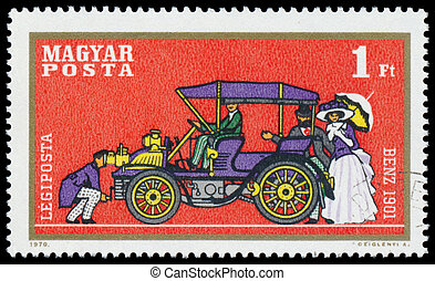 Stamp printed by Hungary shows automobile Benz
