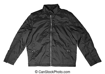Black male jacket isolated on white background