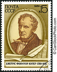 USSR - 1989: shows James Fenimore Cooper (1789-1851),...