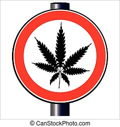 Weed - A road traffic sign declaring 'weed', isolated on...