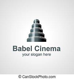 Babel Cinema vector logo design - Tower of Babel from film...