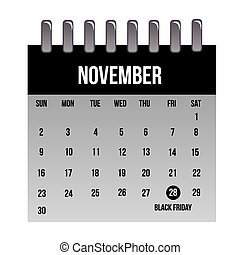 black friday - an isolated calendar with the black friday...