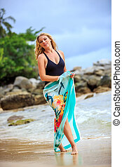 Blonde Woman Posing at the beach - Blonde Woman in Black...