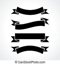 Ribbons set on white background