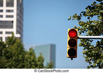 red traffic light - Red traffic light on the background of...