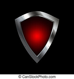 Red silver shield. - Medieval silver shield on black...