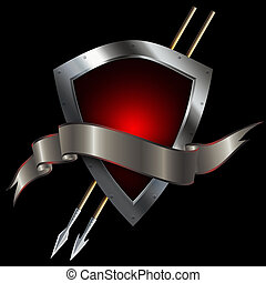 Red silver shield with spears and ribbon. - Medieval silver...