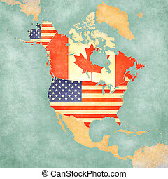 Map of North America - USA and Canada Vintage Series - USA...