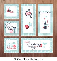 Set of New Year greeting cards