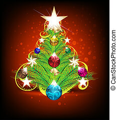 merry christmas tree background with floral vector...