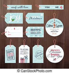 Christmas and New Year gift tags - Set of Christmas and New...