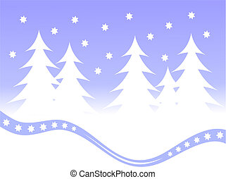 Christmas winter scene background - A winter vector...