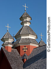 Steeples of Church - An log built Ukranian Church found...
