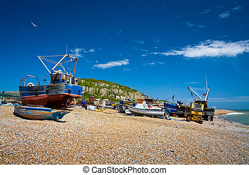 Harbour in Hastings, UK - Fishing boats on the beach in...