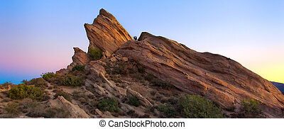 Panoramic View of Vasquez Rocks at Sunset in Southern...