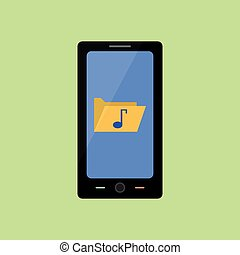 Flat style smart phone with music folder