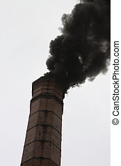 black smoke from a chimney - black smoke polluting the...