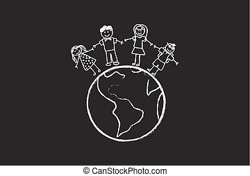 Happy Family With Children Around The World Drawing On...