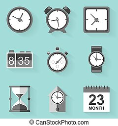 Flat icon set Time Clock White style Vector illustration in...