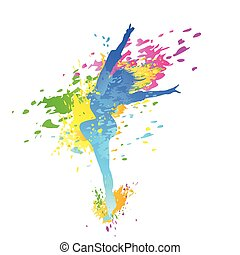 dancing colorful girl splash paint dance on white background...