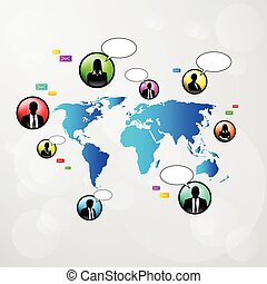 social network communication icons world map
