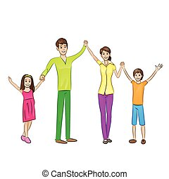 Happy family raised arms up four people