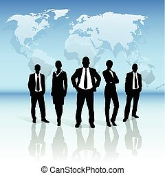 Business people group black silhouette over world map
