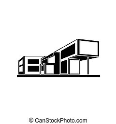 modern house building, real estate icon - modern house...