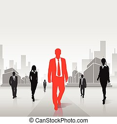 red businessman silhouette over city background - red...