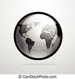 Vector globe icon world map silhouette illustration - Vector...