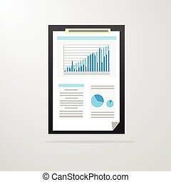 clipboard paper document graph chart icon vector...