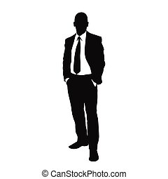 vector business man black silhouette standing full length...