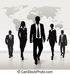 Business people group walk silhouette over world map -...