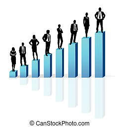 Business people standing on 3d financial bar graph group...