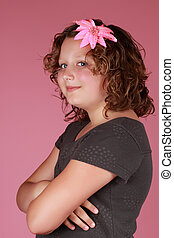 preteen girl - cute caucasian preteen girl, pink background