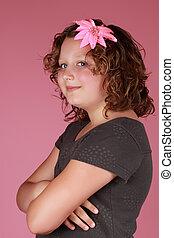 preteen girl - cute caucasian preteen girl, pink background