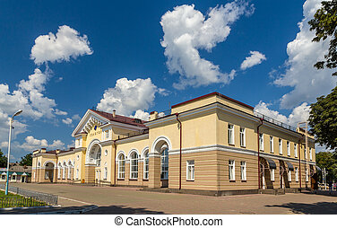Konotop railway station in Ukraine, near the border with...