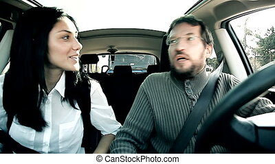 Man getting angry in traffic - Woman trying to calm down...