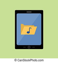 Flat style touch pad with music folder