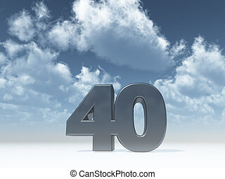 forty - the number forty - 40 - in front of blue sky - 3d...