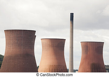 cooling towers - large cooling towers at a power station
