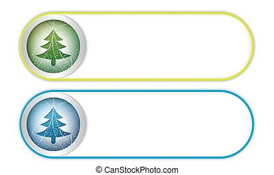 two vector buttons with xmas tree